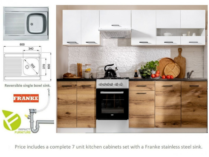 Modern Light Delano Oak/White Gloss Kitchen Cabinets Cupboards Set of 7 Units with Franke Sink - Junona (K24-JUNONA_MODUL/240-BI/BIP/DDJ/LMC-KPL01+SINK)