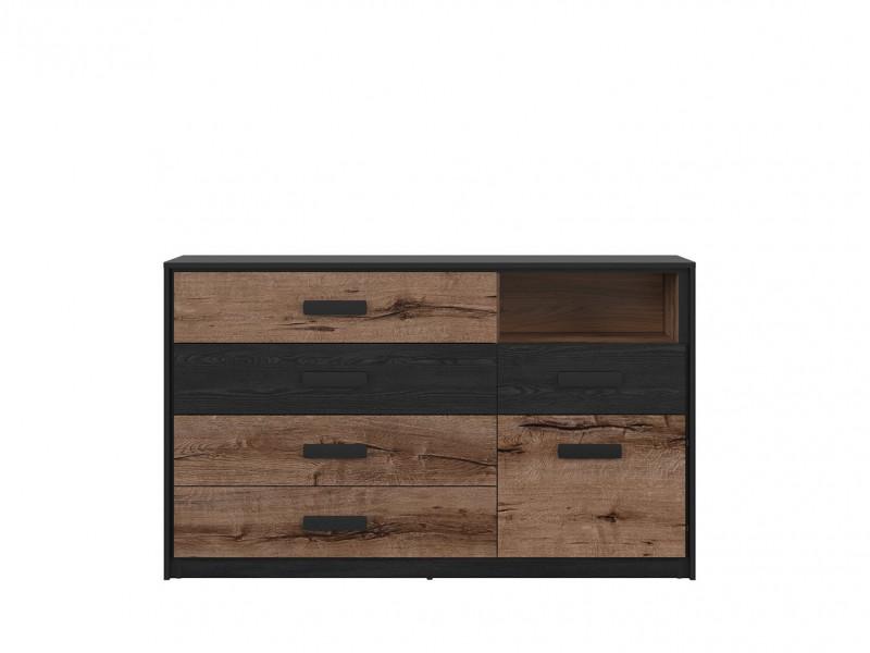 Modern Chest of 5 Drawers Open Compartment Bedroom Storage Cabinet Unit Oak/Black - Kassel (L99-KOM1D5S-DMON/DCA-KPL01)
