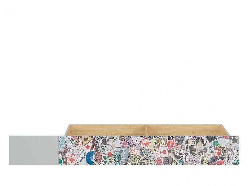 Modern Underbed Drawer for Single Bed Frame Storage Unit White Gloss/Grey/Oak Comic Emoji - Nandu (S441-SZU-JSZ/DP/SCR-KPL01)