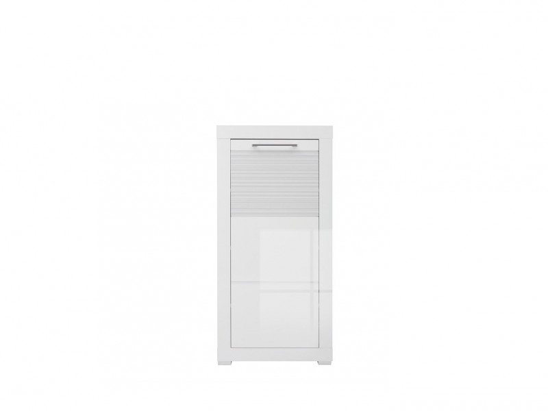 Small Cabinet Cupboard White Gloss Hallway - Flames (M130-REG1D/11/5-BI/BIP-KPL01)