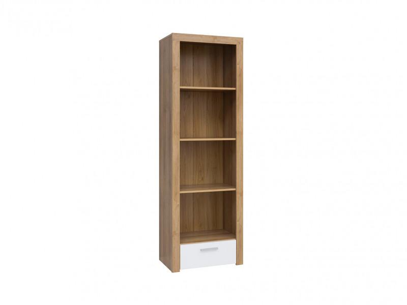 Modern Tall Bookcase Shelf Cabinet Drawer Storage Unit Oak/White Gloss - Balder (S382-REG1S-DRI/BIP-KPL01)