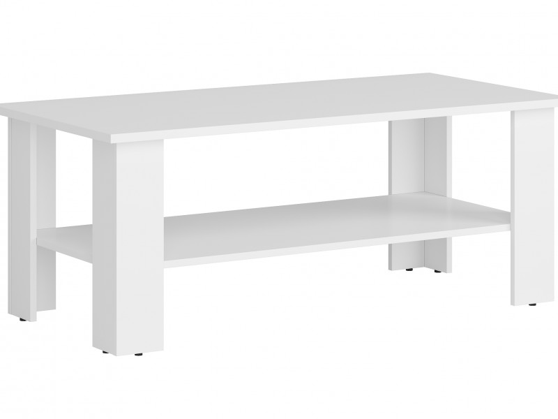 Modern Coffee Table Rectangular with Shelf White or Sonoma Oak Finish- Nepo (S435-LAW/115-BI-KPL01)