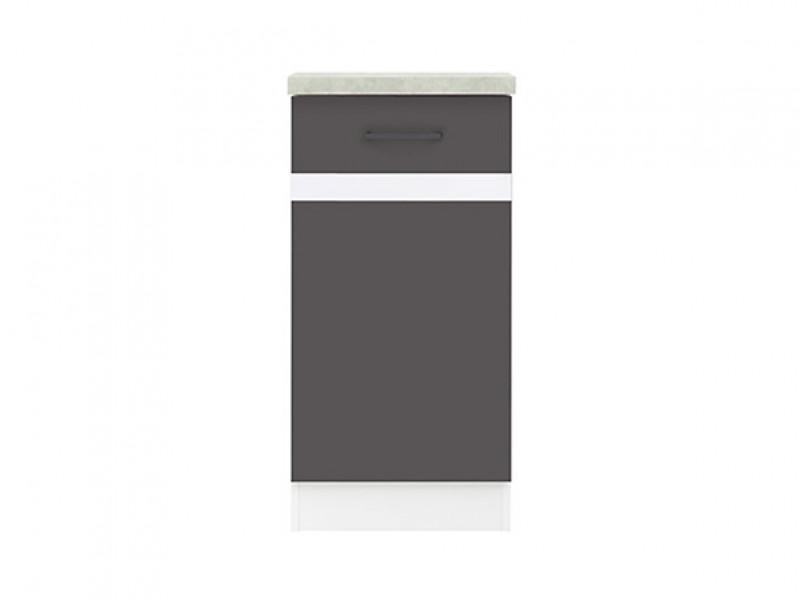 Modern Free Standing Kitchen Cabinet 400 Base Cupboard Unit 40cm Right Hand Grey/White Gloss - Junona (K24-D1D/40/82_P-BI/SZW/BNG-KPL01)