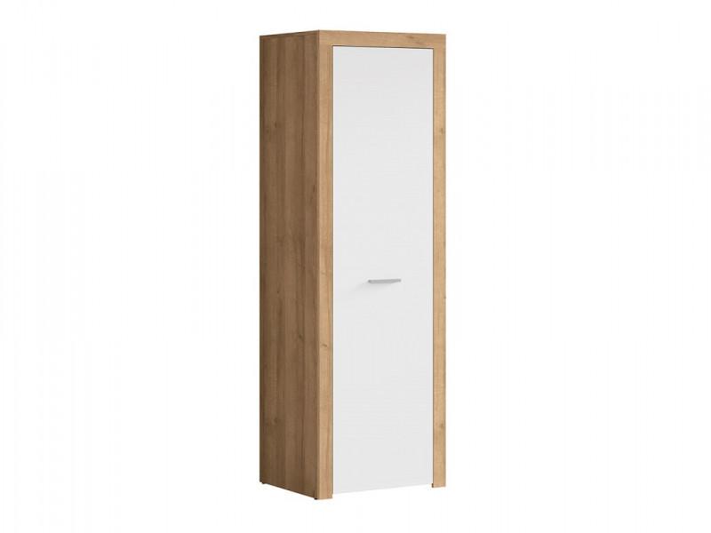 Modern 1 Door Freestanding Single Wardrobe Shelf Hanging Rail Storage Unit Oak Effect and White Gloss - Balder (S382-SZF1D-DRI/BIP-KPL01)