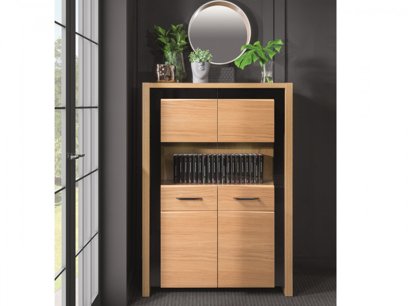 Large 2 Door Glass Fronted Display Cabinet with LED Lights Oak Wood Veneer Black Gloss Finish - Arosa (S346-REG2W-DBC/DNA-KPL01)