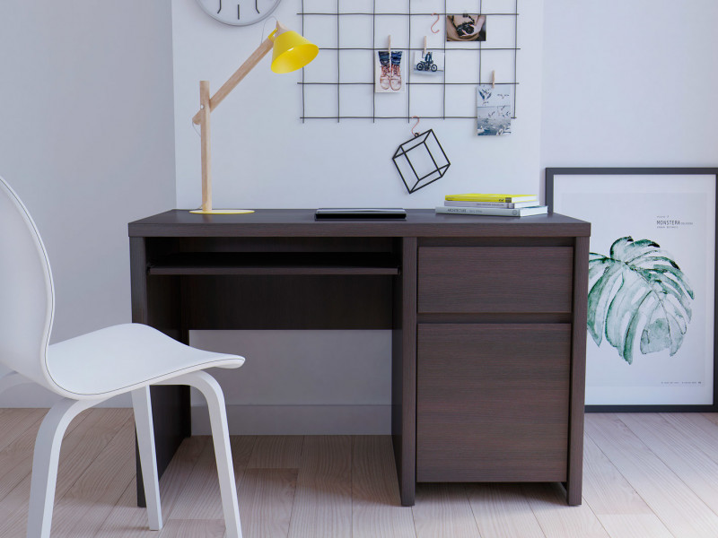 Modern Desk for Study Office Computer with Cabinet & Drawer Wenge 120cm - Kaspian (S128-BIU1D1S/120-WE/WE-KPL01)