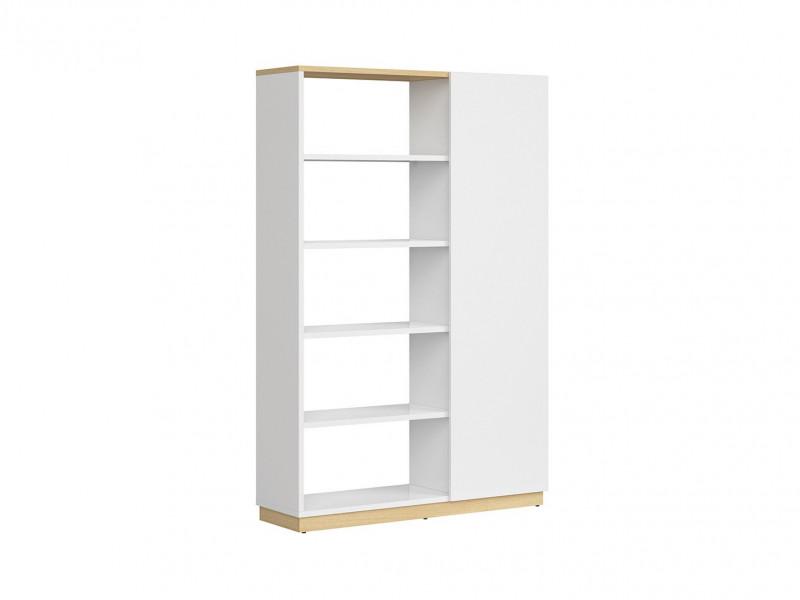 Modern Large Open Bookcase Shelving Storage Unit 180 cm Room Divider White Gloss/Oak Finish – Denton (S416-REG1D/120/180-DP/BIP-KPL01)