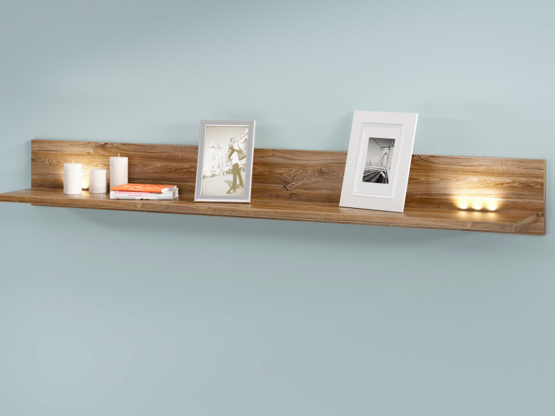 Modern Living Room Wall Mounted Floating Panel Shelf LED Light 200cm Oak- Gent (S228-P/3/20-DAST-KPL01)