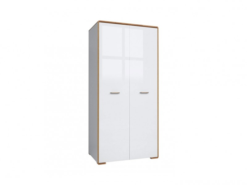 Double Two Door Wardrobe White Gloss and Oak - Bari (SZF2D)