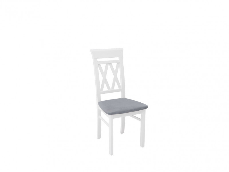 Cross Back White Solid Wood Dining Chair Straight Legs Grey Padded Seat - Cannet (D09-TXK_CANNET-TX098-1-GRANADA_2725_GREY)