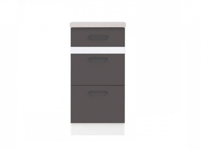 Modern Free Standing Kitchen Cabinet 400 Base 3-Drawer Unit 40cm Grey Wolfram/White Gloss - Junona (K24-D3S/40/82-BI/SZW/BNG-KPL01)