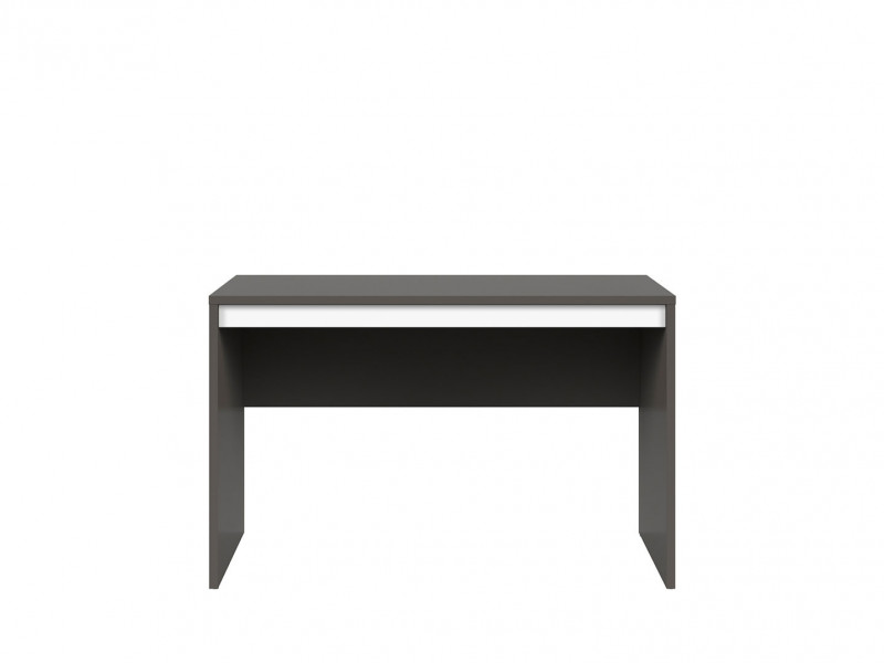 Grey Small Study Desk 120cm Home Office Modern Reversible White Gloss Colour Strip - Graphic (S343-BIU/120-SZW)