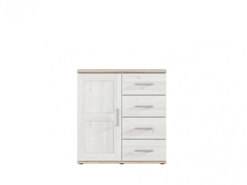 Small Scandinavian Light Wood Effect Sideboard Cabinet 1 Door 4 Drawers - Romance (S331-KOM1D4S-MSJ/DSAJ)