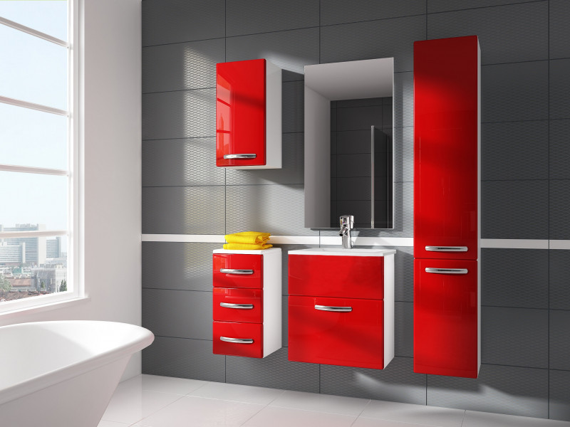 Modern Bathroom Furniture Set Red High Gloss Wall Hung Units with Sink 600mm - Coral (Coral SET YRSA Red)
