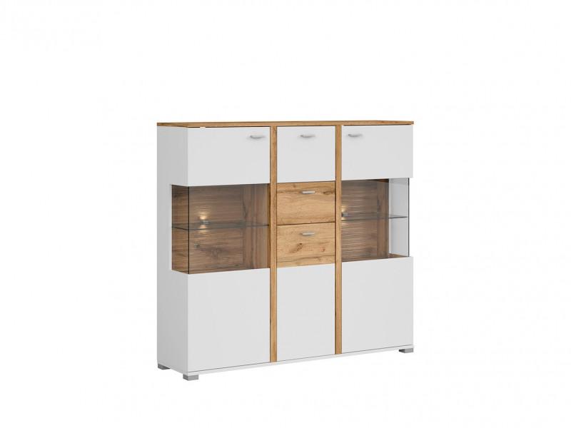 Modern White & Oak Display Sideboard Dresser Storage Unit 2 Drawers 3 - Door Buffet with LED Lights - Alamo (S266-KOM2W1D2S/13/14-DWO/BI/BISM-KPL01)