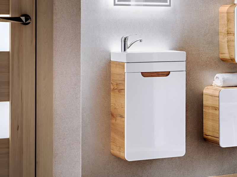 Modern Wall Vanity Cabinet with Sink Bathroom Storage Unit Oak/White 40cm - Aruba (ARUBA_826-40_CM+CFP-8090_DP)