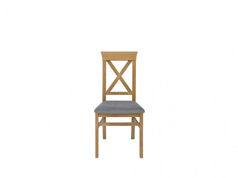 Traditional Light Oak Dining Room Chair Beech Wood Frame Grey Upholstered Seat Cross Back - Bergen (D09-TXK_BERGEN-TX118-1-TK2023)