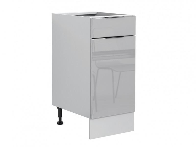 Light Dove Grey Gloss Kitchen Base Cabinet 40cm Cupboard 1 Drawer 1 Door 400 Unit - Luna (STO-LUNA-D40S/1P/L-SZ-SZP-KP01)