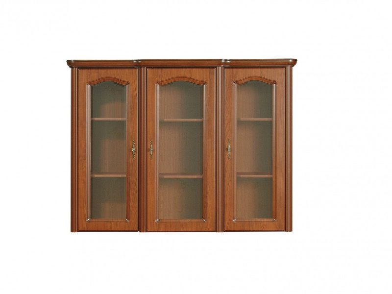 Glass Dresser Display Cabinet Top Unit Classic Style Traditional Living Room Furniture Cherry Finish - Natalia (NAD150)