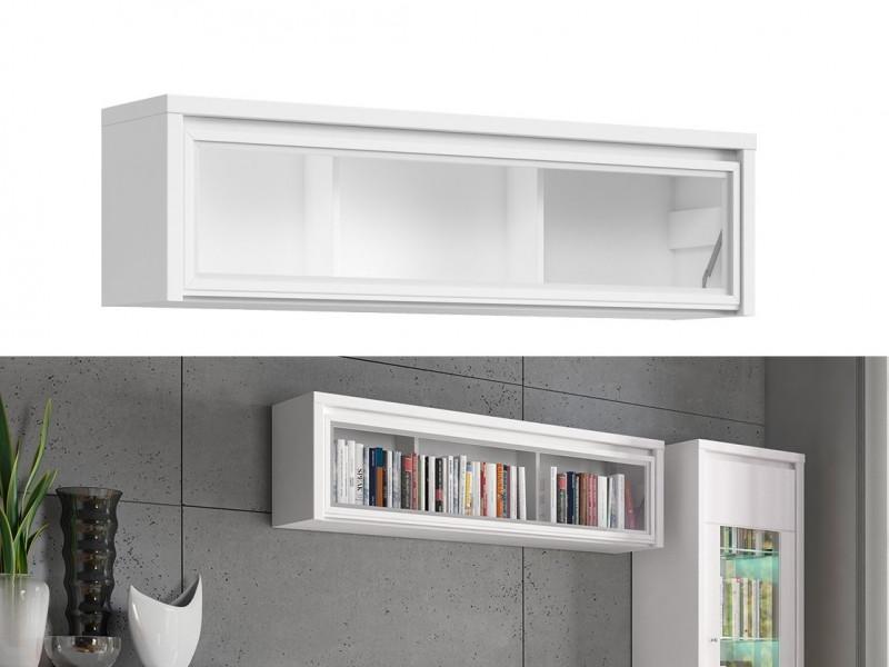 White Wall Mounted Unit Glass Fronted Cabinet Shelf - Kaspian (S128-SFW1W/140-BI/BIM-KPL03)