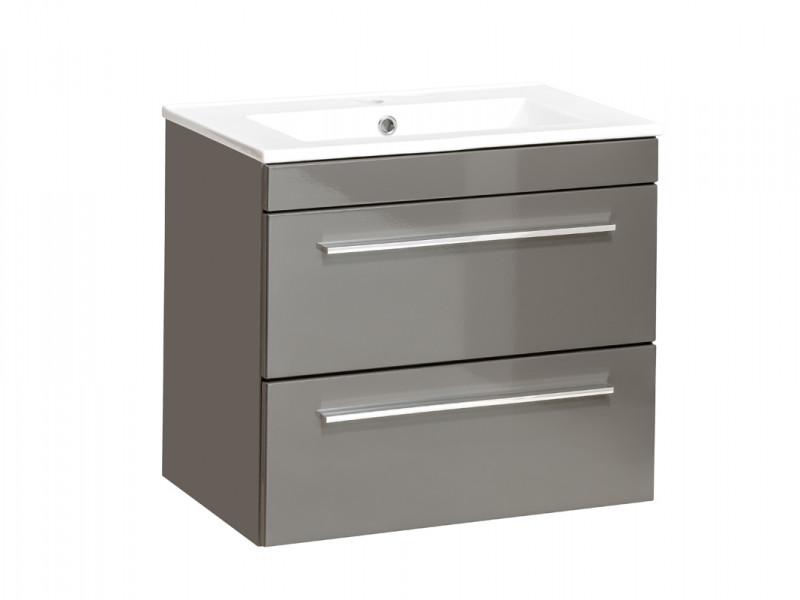 Modern Vanity Bathroom Cabinet Unit with Ceramic Sink Grey Matt & Gloss  - Twist (TWIST_820_GREY+CFP-2060RB/8009-DP)