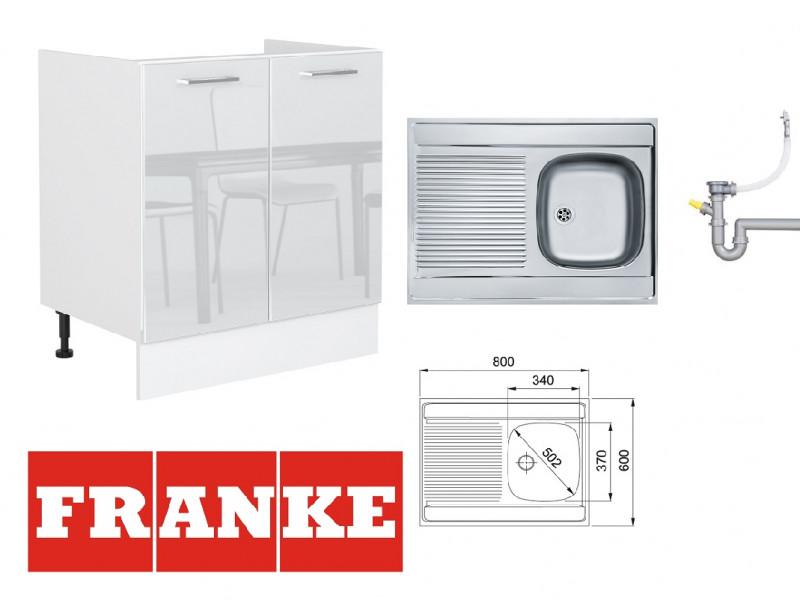 White Gloss Kitchen Sink Cabinet Cupboard Base 80cm Unit + Franke Single Bowl Steel Sink - Rosi (STO-ROSI-D80_ZL-BI-BIP-KP01+FRANKE-SINGLE-SINK )