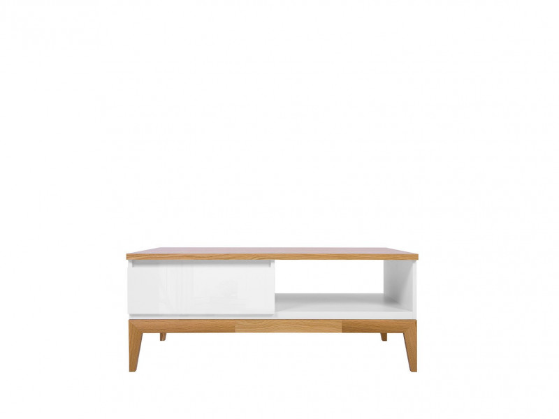 Scandinavian Living Room Rectangle Coffee Table Drawer Wooden Elements White Gloss/Oak - Kioto (S425-LAW1S-BI/BIP/DNA-KPL01)