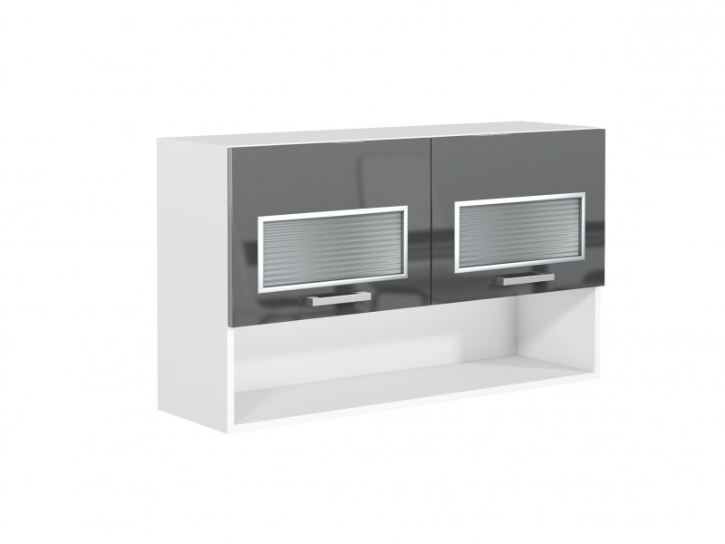 Grey Gloss Kitchen Glass Wall Cabinet White Matt Display Shelf Compartment 100cm 1000mm Unit - Modern Luxe (STO-MODERN_LUX-WS100-PDGR/58-GREY-KP01)