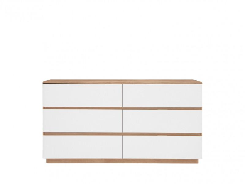 Large Chest of 6 Drawers Sideboard in Oak / White - Braga (S348-KOM6S/DRI/BI)