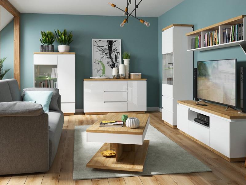 Modern White Gloss / Oak finish Living Room Furniture Set with Display Cabinets Sideboard - Erla (S426-ERLA_LIVING-SET)