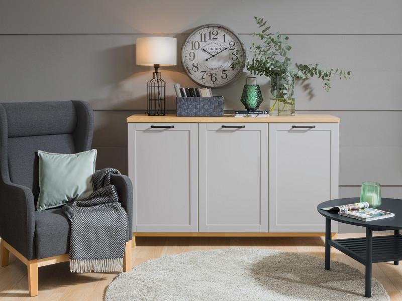Large Scandinavian Sideboard Dresser Cabinet in Grey & Oak - Haga (KOM3D)