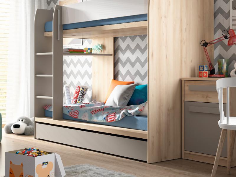 Modern Beech Effect Bunk Bed Frame Grey & White Gloss with Storage Drawer - Namek (S412-LOZ1S/90P-BUI/BIP/SZ-KPL01)