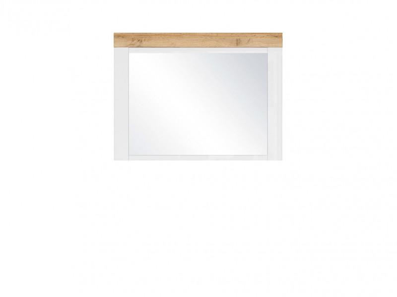 Scandinavian Wall Mounted Rectangular Mirror Hallway White Gloss/Oak - Holten (S440-LUS)
