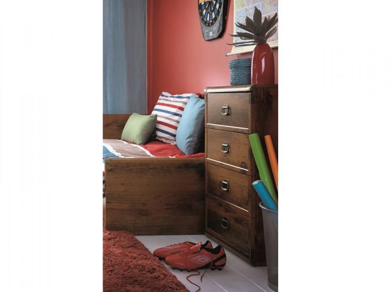 Modern Slim Chest of 4 Drawers Bedroom Storage Unit Tallboy in Dark Oak Effect Finish - Indiana (S31-JKOM4s/50-DSU-KPL01)