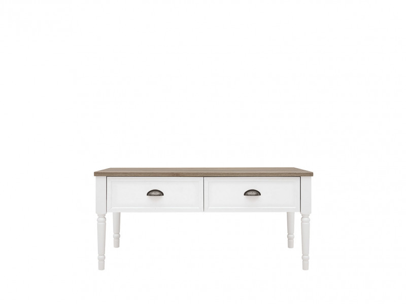 Rectangular Coffee Table with Drawers Turned Legs White / Oak Finish - Cannet (S351-LAWR/110-BI/DAMO-BI)