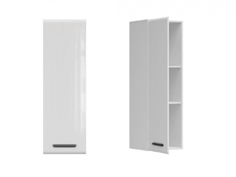 Modern Slim White Gloss Wall Mounted Storage Cabinet Unit with Black Handles - Assen (S513-SFW1D/13/4-BI/BIP-KPL01)