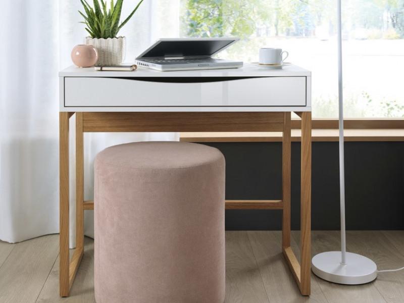 Modern Compact Console Dressing Table Desk with Drawer White Gloss Oak finish - Pori (L87-TOL-BIP/DP-KPL01)