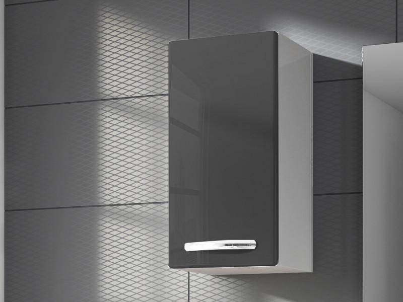 Narrow Wall Hanging Bathroom Cabinet 1 Door Unit Grey High