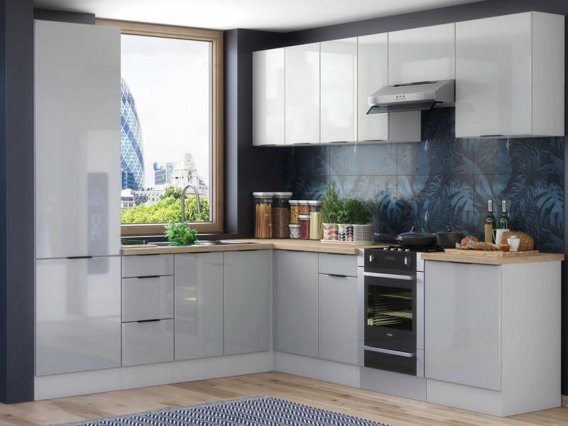 Light Dove Grey Gloss Kitchen Units Corner Set of 11 Cabinets with 60cm Larder Cupboard  - Luna (STO-LUNA-SET-11UNITS-60SL-SZ-SZP)