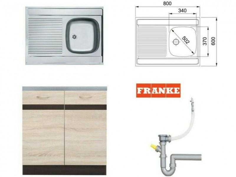 Modern Kitchen Cabinet 800 Cupboard Sink Unit 80cm Sonoma Oak/Wenge with Single Franke Sink - Junona (K22-DK2D/80/82-WE/DSO/WE-KPL01+FRANKE)