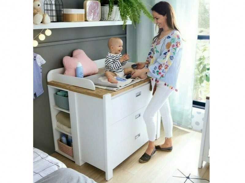 Country Cottage Baby Changing Table Nursery Chest of Drawers Set White/Oak - Dreviso Baby (S378-PRKW-BI/DWM/BI)