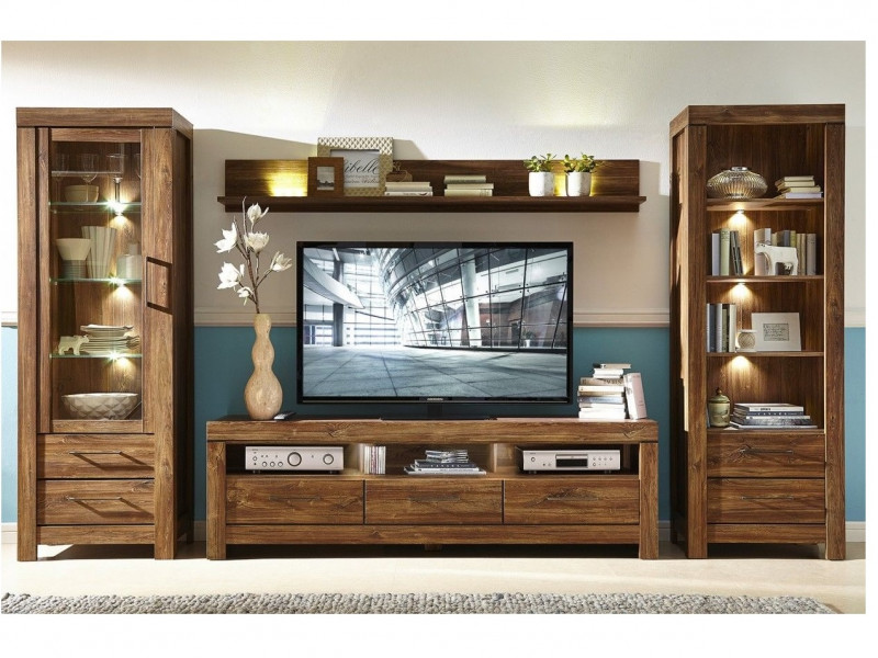 Modern Living Room Furniture Set Oak finish LED Lights - Gent (GENT LIV SET 2)