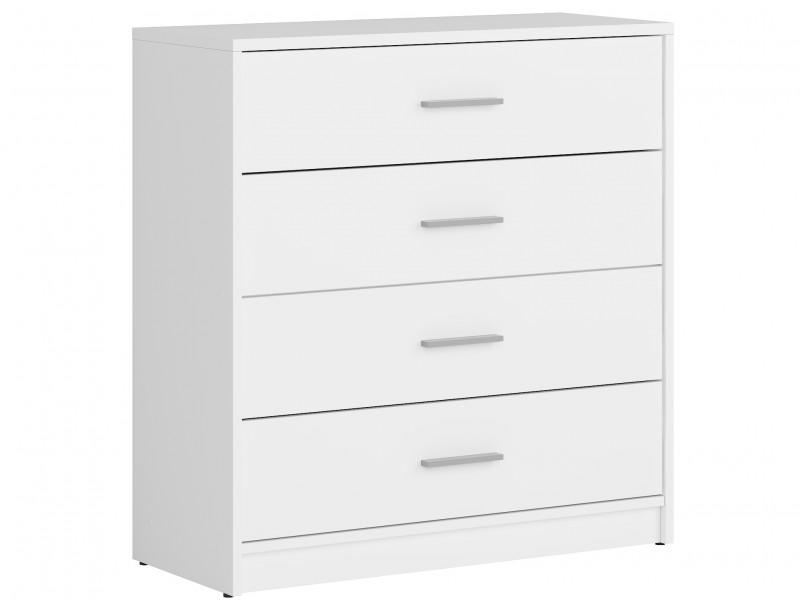 Modern Wide Storage Chest of Drawers Bedroom Unit 4 Drawers in White Matt Effect Finish - Nepo (S435-KOM4S-BI-KPL01)