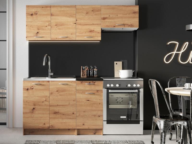 Complete Kitchen Set of 5 Cabinets Units Flat Pack in Artisan Oak finish – Nela 1 (STO-NELA_SET-5UNITS_1.2/1.8-ARTISAN)