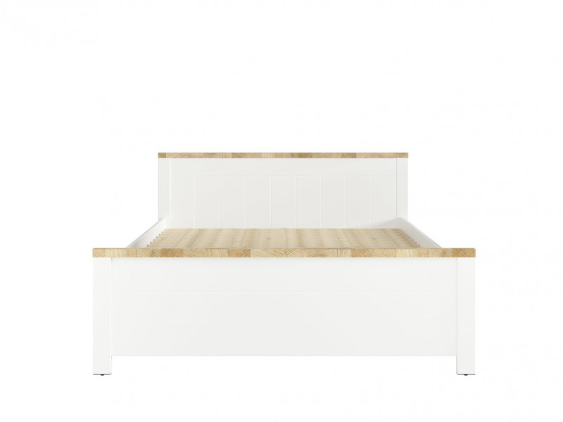 Country Farmhouse King Size Bed Frame with Bed Slats & Headboard White/Oak - Dreviso (S378-LOZ/160-BI/DWM)