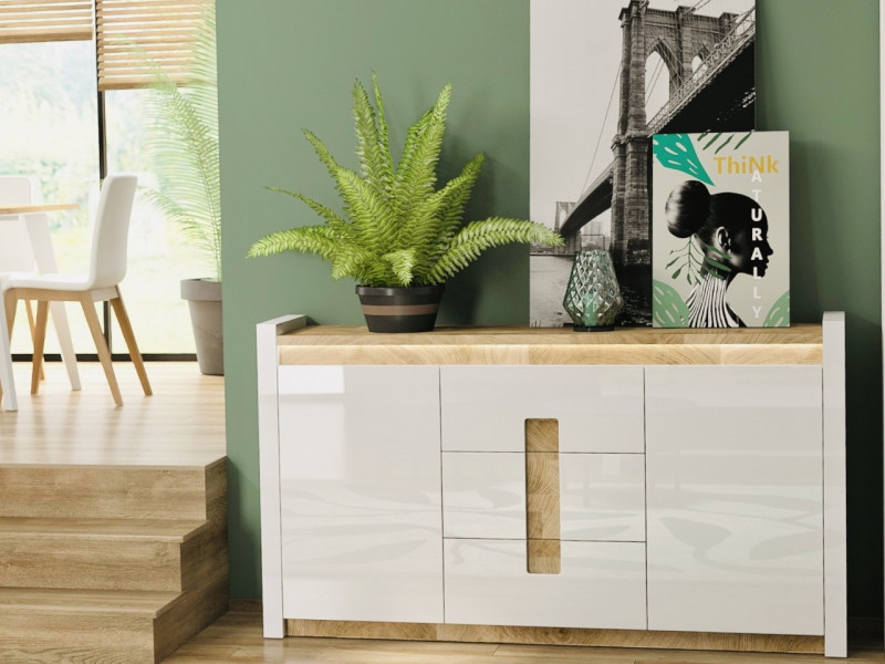 Modern White Gloss Large Sideboard Cabinet Unit with Drawers LED Lights Oak finish top - Alameda (S420-KOM2D3S-BIP/DWM/BIP)
