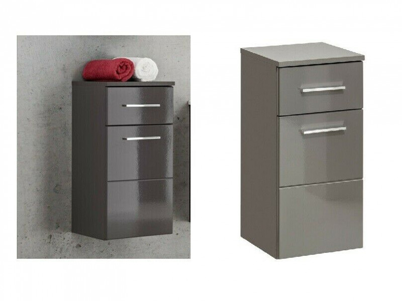 Modern Wall Hung Base Cabinet with Drawer Bathroom Storage Unit Grey Matt/Grey Gloss - Twist (TWIST_810_GREY)