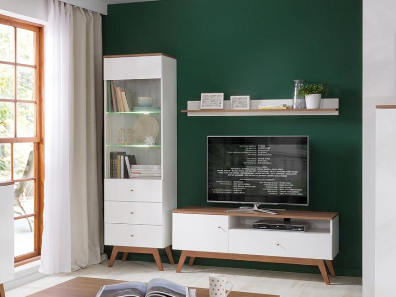 Scandi White Gloss/Walnut finish Living Room Furniture Set: Wall Shelf, TV Cabinet Tall Display with LED Lights  - Heda (S385-LIVING-ROOM-SET)