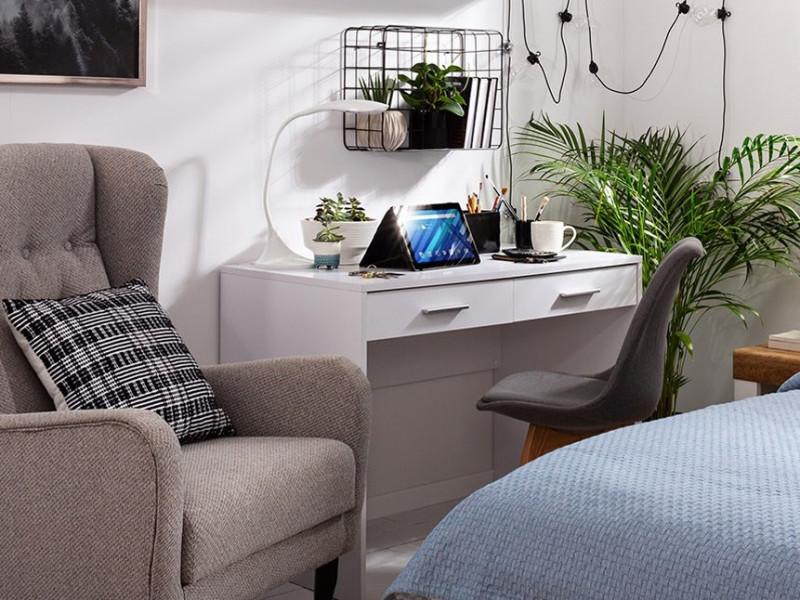 Modern Slim Compact 2 Drawer 100cm Desk Home Office Study in White Matt Effect Finish - Nepo (S435-BIU2S-BI-KPL01)