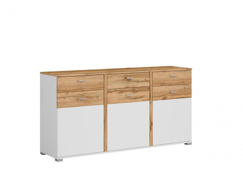 Modern Oak & White Wide 3-Door Sideboard Cabinet Dresser Premium Drawers Storage Unit - Alamo (S266-KOM3D3S/9/17-DWO/BI/BISM-KPL01)